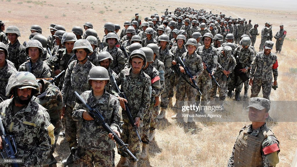 BALKH, May 24, 2016 -- Afghan army soldiers take part in a military training in Mazar-e-Sharif, Balkh province, Afghanistan, May 24, 2016. About 1,700 army soldiers and officers have been receiving the 15-week military training in northern Balkh province, Afghanistan.