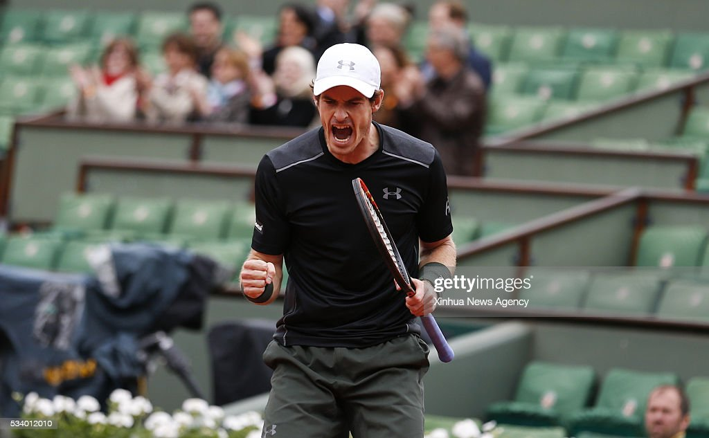 PARIS, May 24, 2016 -- Andy Murray of Great Britain celebrates during the continuation of men's singles first round match against Radek Stepanek of Czech Republic on day 3 of 2016 French Open tennis tournament at Roland Garros, in Paris, France, on May 24, 2016.
