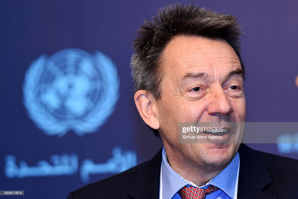 ISTANBUL, May 24, 2016-- Peter Maurer, president of the International Committee of the Red Cross, speaks at a press briefing during the World Humanitarian Summit in Istanbul, Turkey, on May 24, 2016.
