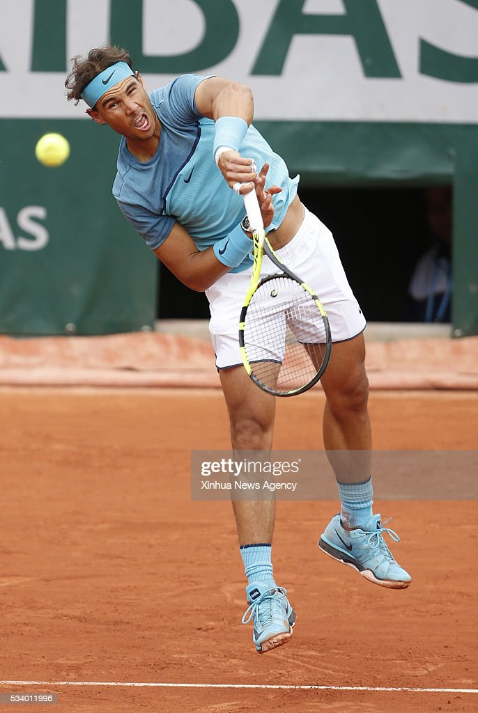 PARIS, May 24, 2016-- Rafael Nadal of Spain competes during the match of men's singles first round match against Sam Groth of Australia on day 3 of 2016 French Open tennis tournament at Roland Garros, in Paris, France, on May 24, 2016.