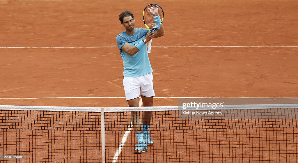 PARIS, May 24, 2016 -- Rafael Nadal of Spain greets the audience after winning the match of men's singles first round match against Sam Groth of Australia on day 3 of 2016 French Open tennis tournament at Roland Garros, in Paris, France, on May 24, 2016.