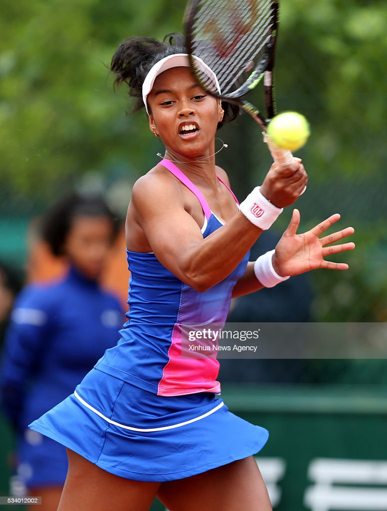 PARIS, May 24, 2016 -- Tessah Andrianjafitrimo of France competes during the women's singles first round match against Wang Qiang of China at 2016 French Open tennis tournament at Roland Garros in Paris, France on May 24, 2016.