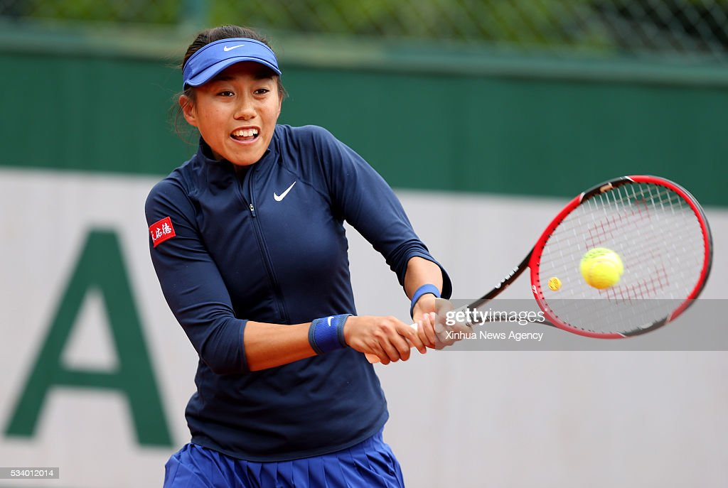 PARIS, May 24, 2016 -- Zhang Shuai of China competes during the women's singles first round match against Galina Voskoboeva of Kazakhstan at 2016 French Open tennis tournament at Roland Garros in Paris, France on May 24, 2016.