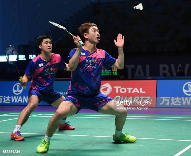 COAST May 24 2017 South Korea's Kim Dukyoung/Park Kyung Hoon compete during the men's double's match of Group 1B against Chinese Taipei's Chen Hung...