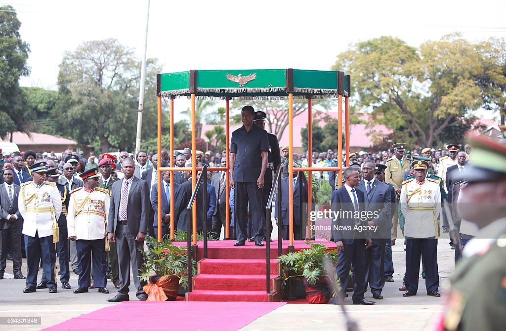 LUSAKA, May 25, 2016 -- Zambian President Edgar Lungu stands in front of the Freedom Statue during a wreath-laying ceremony in honor of fallen freedom fighters in Lusaka, capital of Zambia, May 25, 2016. Zambia commemorated the Africa Freedom Day in colorful celebrations.