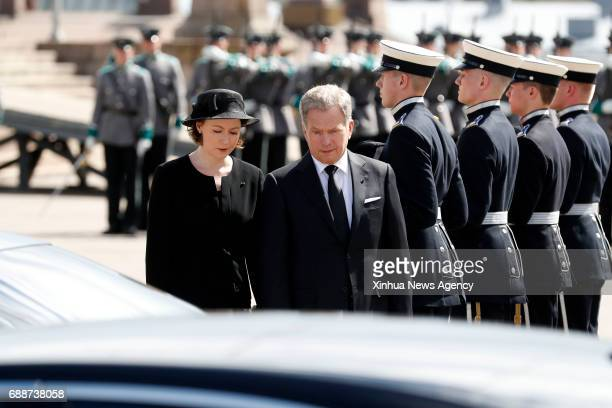 HELSINKI May 26 2017 Finnish President Sauli Niinisto and his wife Jenni Haukio take part in a funeral for former Finnish President Mauno Koivisto in...