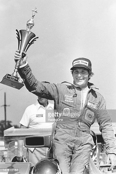 Elliott ForbesRobinson raises his trophy in victory lane at Charlotte Motor Speedway after winning the Citicorp CanAm 200 SCCA CanAm race Robinson...