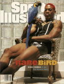 Basketball Unusal portrait of San Antonio Spurs Dennis Rodman casual with parrot bird during photo shoot Animal San Antonio TX 5/21/1995 CREDIT John...