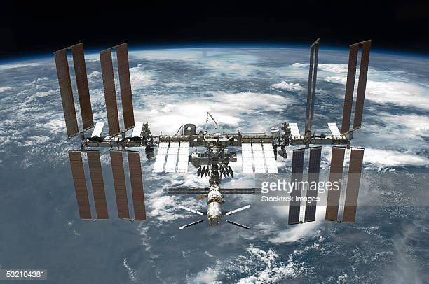 May 29, 2011 - The International Space Station backdropped by a blue and white Earth.