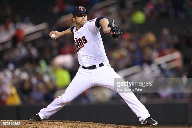 May 29 2015 Minnesota Twins pitcher Casey Fien pitching during the eighth inning at the Minnesota Twins vs Toronto Blue Jays at Target Field Blue...