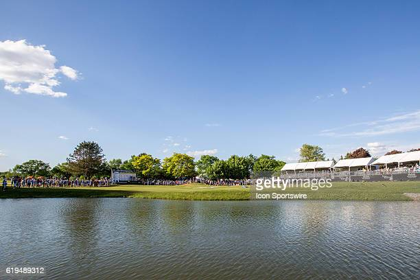 A general view of the 18th green as Ariya Jutanugarn of Thailand taps in her put to win her third consecutive tournament during the final round of...
