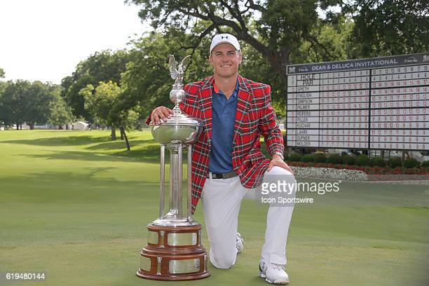 Jordan Spieth poses with the trophy after winning the 2016 Dean DeLuca Invitational at the Colonial Country Club in Fort Worth TX