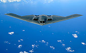 May 30, 2006 - A B-2 Spirit soars through the sky after a refueling mission over the Pacific Ocean.