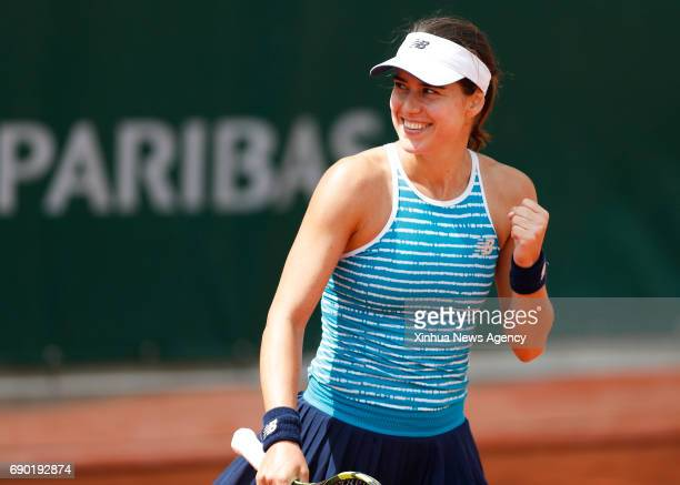 PARIS May 30 2017 Sorana Cirstea of Romania celebrates after winning the women's singles first round match against Peng Shuai of China at French Open...