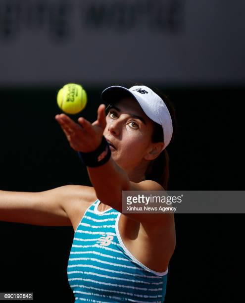 PARIS May 30 2017 Sorana Cirstea of Romania serves during the women's singles first round match against Peng Shuai of China at French Open Tennis...