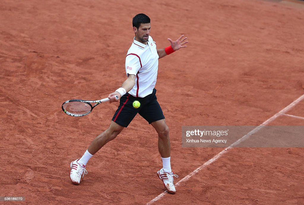 PARIS, May 31, 2016 -- Novak Djokovic of Serbia competes during the men's singles fourth round match with Roberto Bautista Agut of Spain at 2016 French Open tennis tournament at Roland Garros, in Paris, France on May 31, 2016.