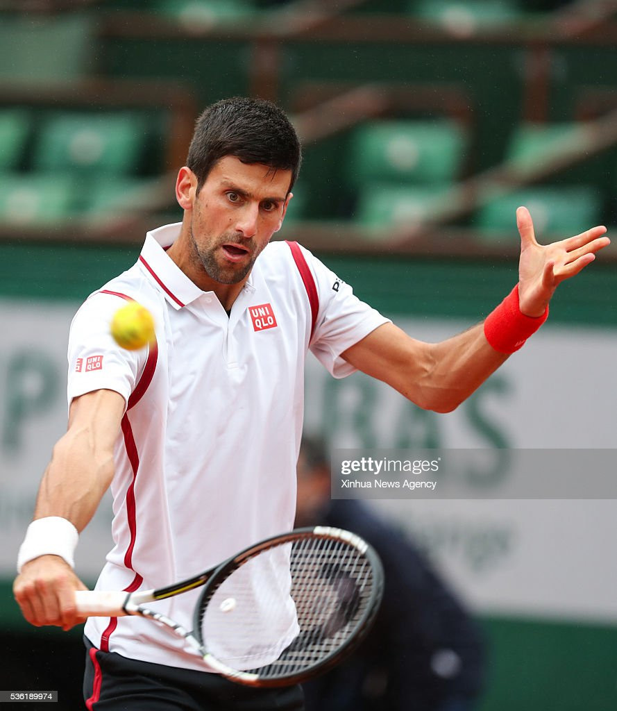 PARIS, May 31, 2016-- Novak Djokovic of Serbia competes during the men's singles fourth round match with Roberto Bautista Agut of Spain at 2016 French Open tennis tournament at Roland Garros, in Paris, France on May 31, 2016.