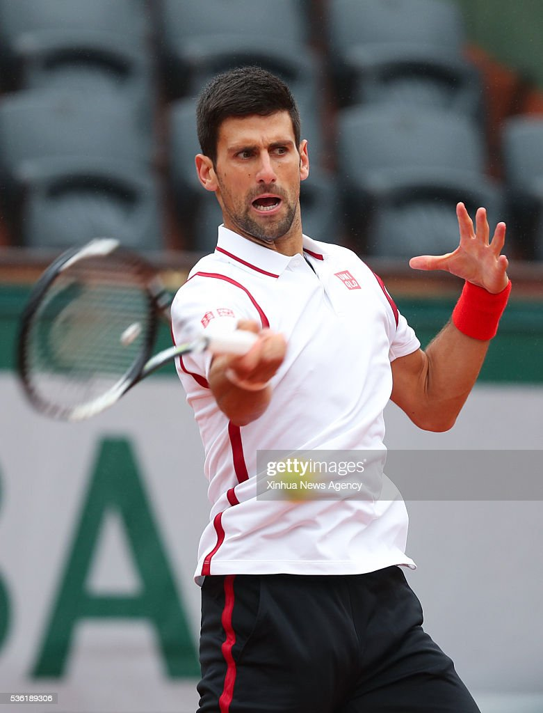 PARIS, May 31, 2016 -- Novak Djokovic of Serbia returns the ball during the men's singles fourth round match with Roberto Bautista Agut of Spain at 2016 French Open tennis tournament at Roland Garros, in Paris, France on May 31, 2016.