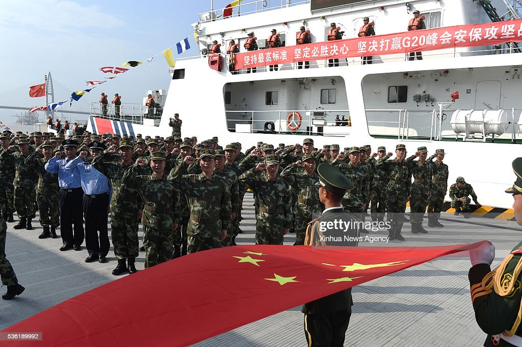 BEIJING, May 31, 2016 -- Soldiers attend a launch ceremony of marine security mission for the Group of 20 2016 summit in east China's Zhejiang Province, May 31, 2016. More than 300 coast guard staff members attended the ceremony here on Tuesday.