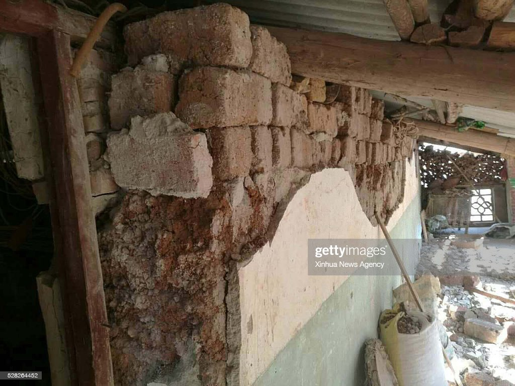 GEJIU, May 4, 2016 -- A house is damaged by earthquake in Gejiu, southwest China's Yunnan Province, May 4, 2016. A 4.6-magnitude earthquake occurred in Gejiu, at 15:51 p.m. Wednesday, according to China Earthquake Networks Center. Another earthquake measuring 4.7 was reported by the CENC at roughly the same site at 17:23 p.m..