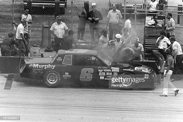 Rick Wilson pits his car with a broken piston on lap 37 of the Permatex 500 ARCA race at Talladega Superspeedway Wilson started on the outside pole...