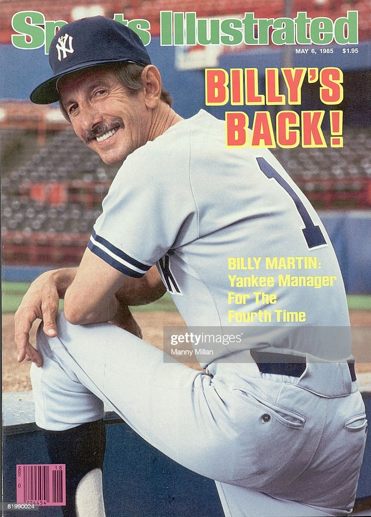 Portrait of New York Yankees manager Billy Martin (1) in dugout before game vs Texas Rangers. Arlington, TX 4/29/1985