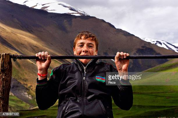 May 7 Khinalig Village Guba district Azerbaijan A boy plays outside of the only school in the Khinalig Village Located on a summit in the Caucasus...