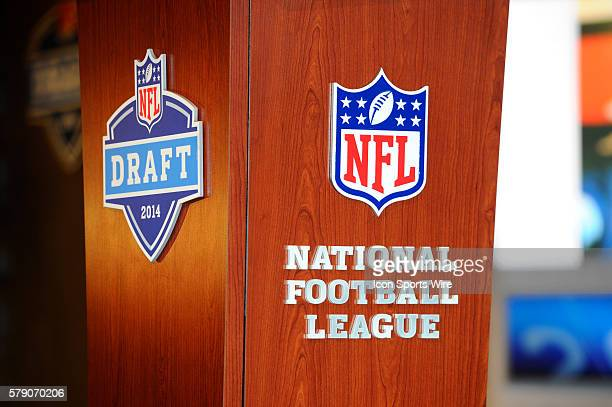 Final preparations are made prior to the start of the first round of the NFL Draft at Radio City Music Hall in Manhattan NY
