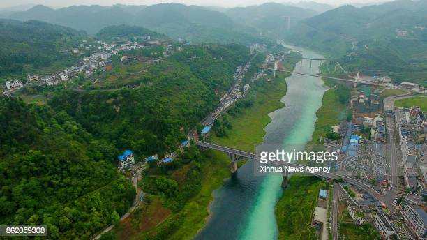 BEIJING May 8 2017 Photo taken on May 8 2017 shows a bird'seye view of bridges over the Wujiang River a tributary on the southern bank of the upper...