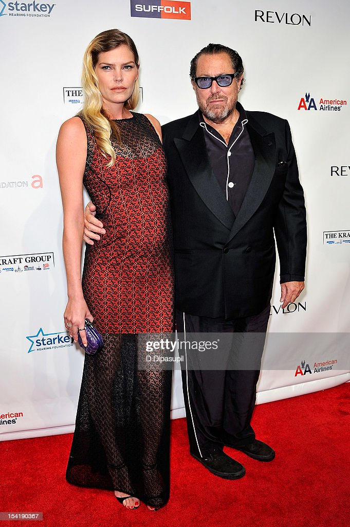 May Anderson (L) and <a gi-track='captionPersonalityLinkClicked' href=/galleries/search?phrase=Julian+Schnabel&family=editorial&specificpeople=207050 ng-click='$event.stopPropagation()'>Julian Schnabel</a> attend the Elton John AIDS Foundation's 11th Annual 'An Enduring Vision' Benefit at Cipriani Wall Street on October 15, 2012 in New York City.