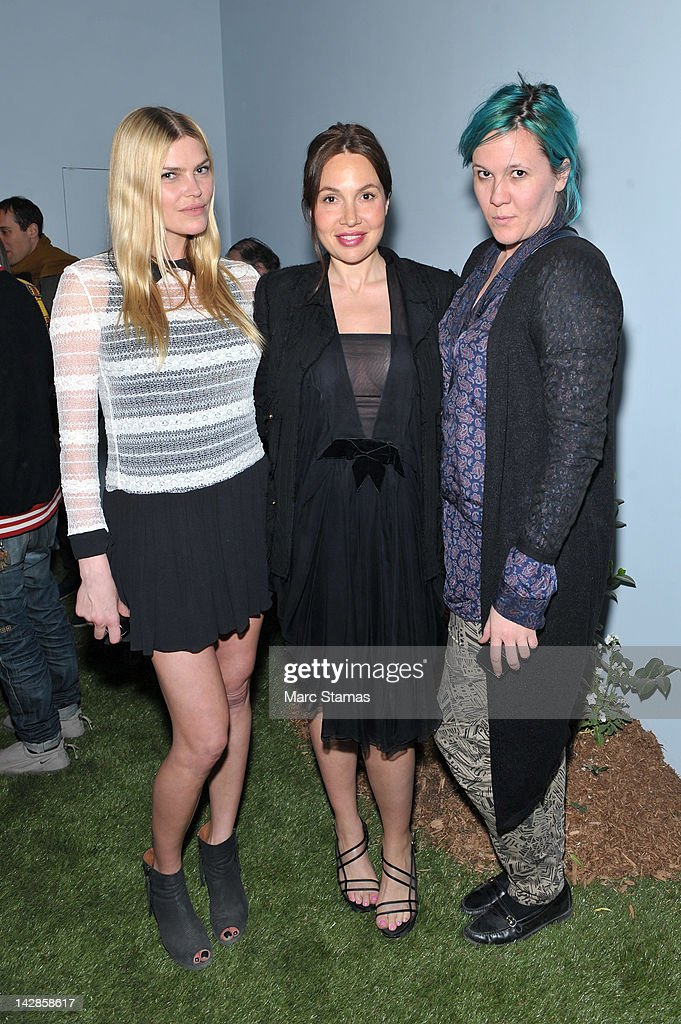 May Anderson Fabiola Beracasa and Kathy Greyson attends Poetry in the Garden at The Hole Gallery on April 13 2012 in New York City