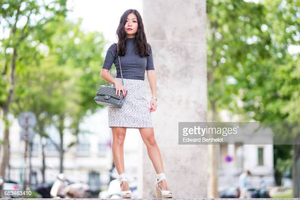 May Berthelot fashion blogger and Head of Legal at Videdressingcom wears a New Look gray turtleneck top a Germain tweed skirt HM white espadrille...