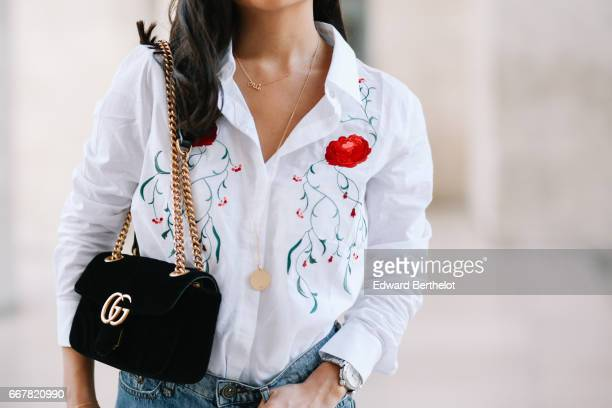 May Berthelot Head of Legal at Videdressingcom and fashion blogger wears a Balzac white shirt with floral prints a The Kooples blue denim short New...