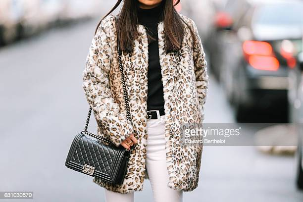 May Berthelot Head of Legal at Videdressingcom and influencer is wearing a Zara leopard print faux fur coat Topshop white denim jeans an HM...