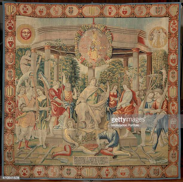 'May by Benedetto da Milano upon drawing by Bramantino c 15031508 16th Century tapestry Italy Lombardy Milan Sforza Castle Whole artwork view...