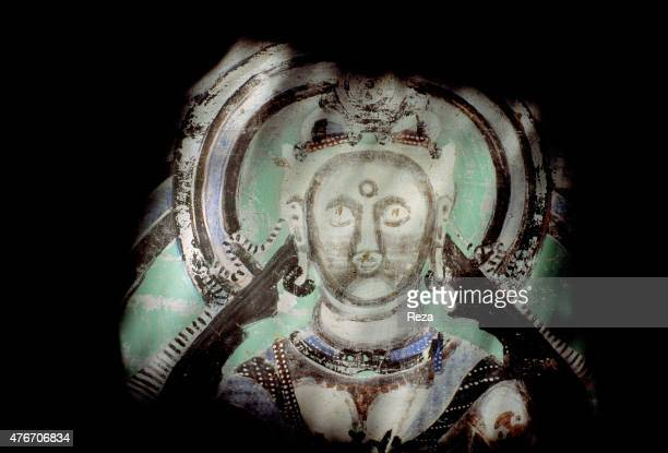 May Cave n°017 Kyzyl Xinjiang China We see here the face of Maitreya Buddha of the future encircled with a halo His forehead is decorated with an...