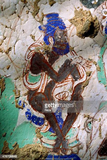 May Cave n°38 Kyzyl Xinjiang China This character is sitting on the left of Buddha in a scene painted on the main chamber's dome which according to a...