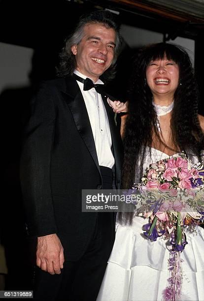 May Pang and Tony Visconti on their wedding day circa 1989 in New York City