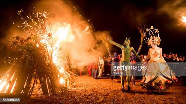 Puede Reina y Hombre verde Festival del fuego Beltane