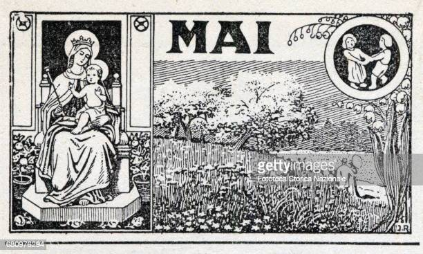 May the month of Mary Madonna flowering fields zodiac sign of the twins Header sheet for the month May in a German almanac woodcut Germany 1919