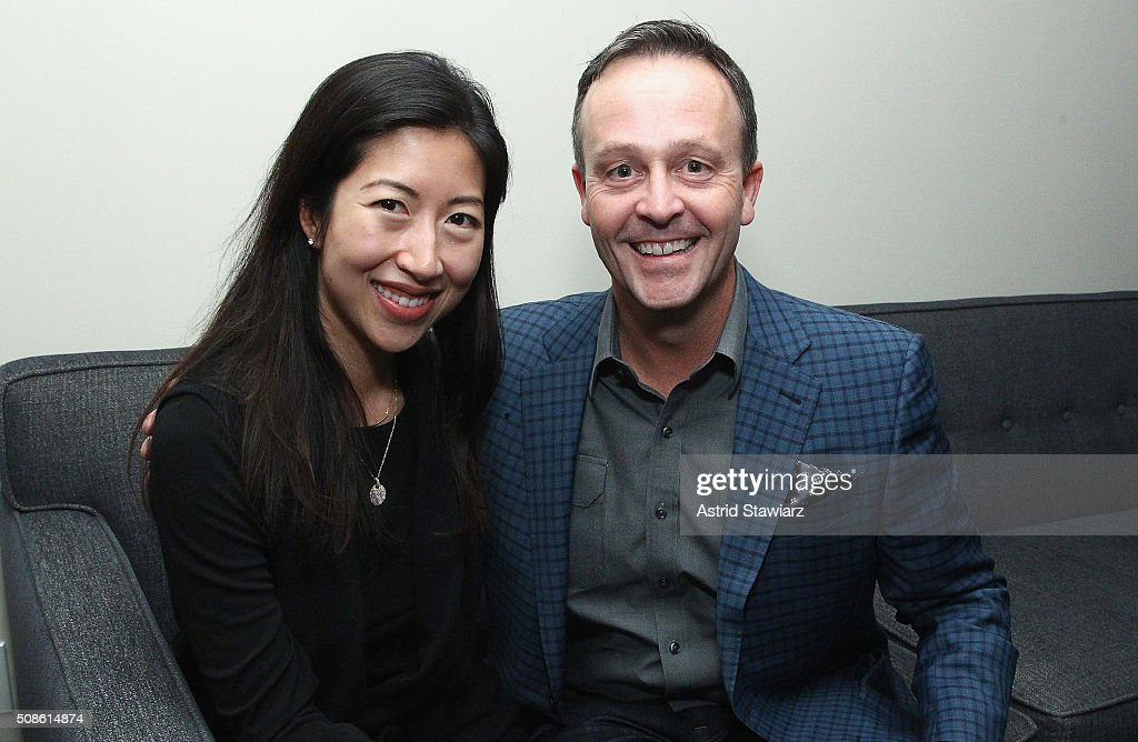 May Yoon (L) and Ted Hogan attend an intimate evening of friends and colleagues at Mr. Colin Dougherty's New York City apartment on February 5, 2016 in New York City.