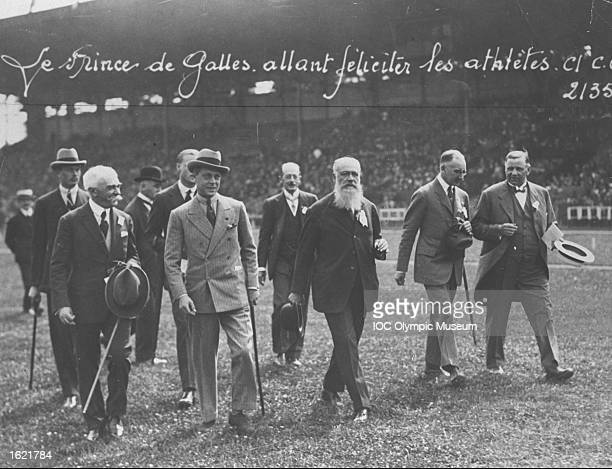 Baron Pierre de Coubertin President of the International Olympic Committee The Prince of Wales Count de Clary President of the French National...