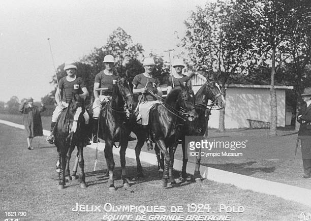 The British Polo Team during the 1924 Olympic Games in Paris. Great Britain won the bronze medal in this event. \ Mandatory Credit: IOC Olympic Museum /Allsport