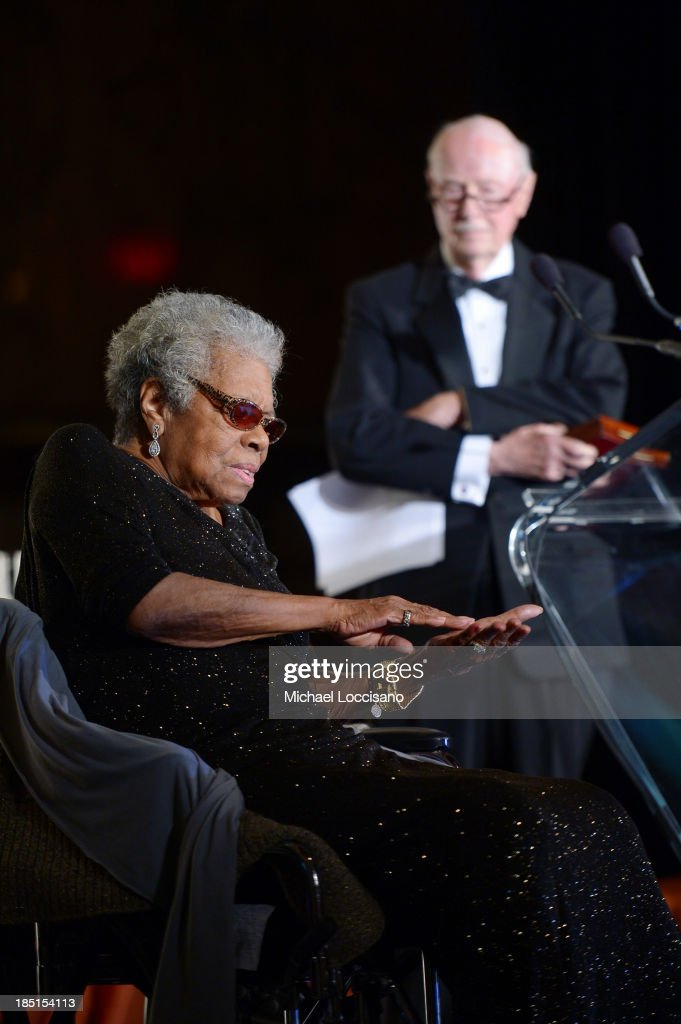 <a gi-track='captionPersonalityLinkClicked' href=/galleries/search?phrase=Maya+Angelou&family=editorial&specificpeople=772742 ng-click='$event.stopPropagation()'>Maya Angelou</a> and Robert Loomis appear onstage at the Norman Mailer Center's Fifth Annual Benefit Gala sponsored by Van Cleef & Arpels at the New York Public Library on October 17, 2013 in New York City.