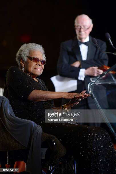 Maya Angelou and Robert Loomis appear onstage at the Norman Mailer Center's Fifth Annual Benefit Gala sponsored by Van Cleef Arpels at the New York...