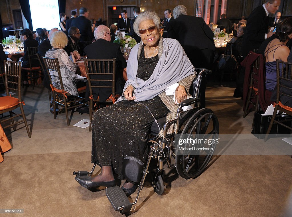 <a gi-track='captionPersonalityLinkClicked' href=/galleries/search?phrase=Maya+Angelou&family=editorial&specificpeople=772742 ng-click='$event.stopPropagation()'>Maya Angelou</a> attends the Norman Mailer Center's Fifth Annual Benefit Gala sponsored by Van Cleef & Arpels at the New York Public Library on October 17, 2013 in New York City.
