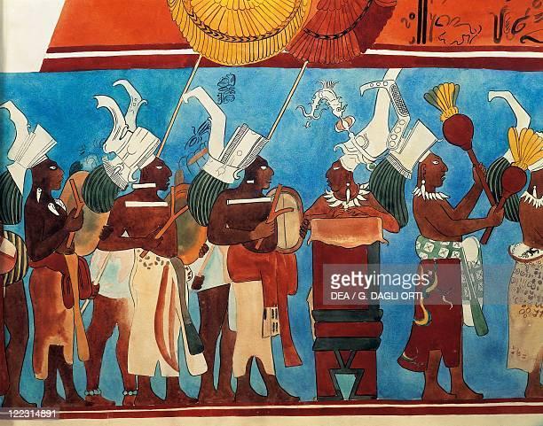 Maya civilization Mexico 9th century AD Reconstruction of Bonampak frescoes Procession of musicians Detail