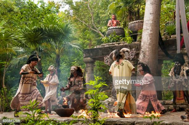 Maya culture performance 'Los Rostros de Ek chuah' honoring the Mayan God of Cacao with women dancing around man portraying Ah puch Lord of the...