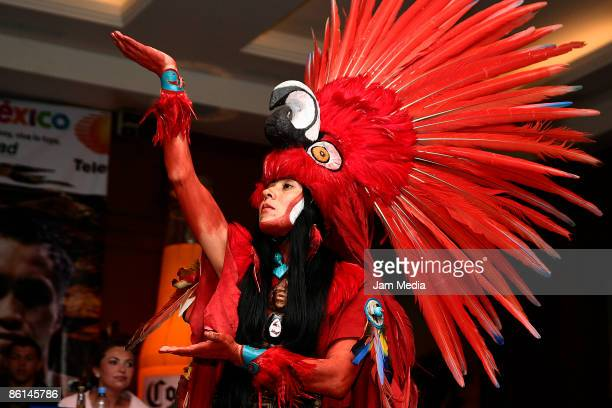 Maya dancer during the boxing press conference of the Mayan Challenge at Xcaret in Hotel JW Marriot on April 21 2009 in Mexico City Mexico