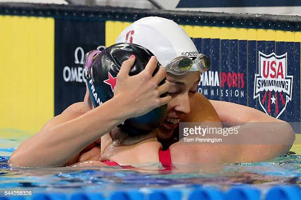 Maya DiRado and Missy Franklin of the United States celebrate after competing in the final heat for the Women's 200 Meter Backstroke during Day Seven...